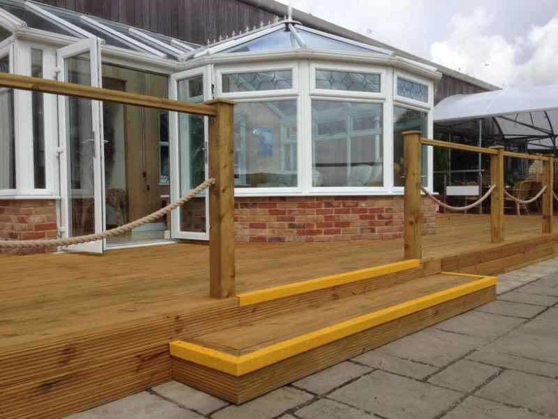 Vibrant GRP Nosing added to Garden Decking