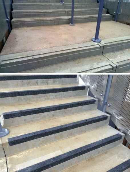 Non Slip Nosing Inset into Concrete Stair