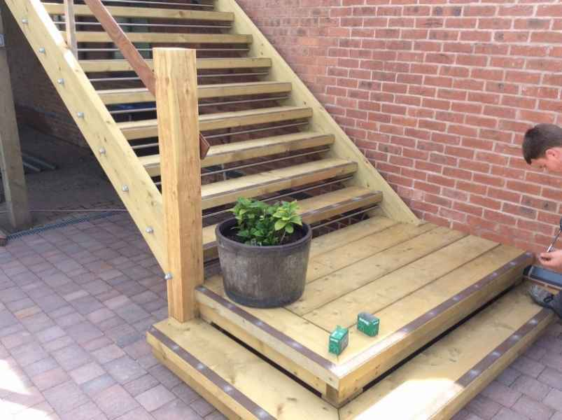 Decking Step Strips on Timber Staircase