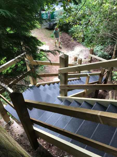 Anti Slip Stair Treads on Woodland Staircase