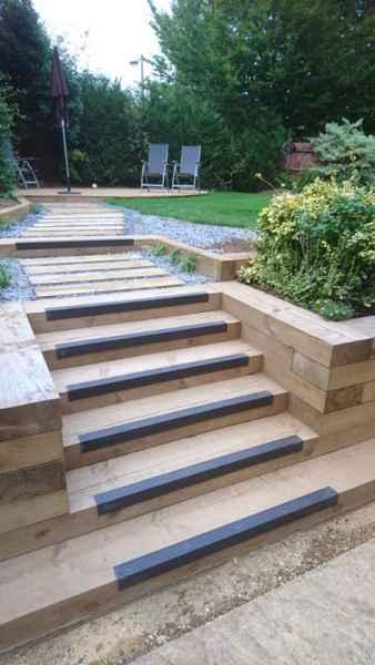 GRP Stair Nosing on Timber Garden Steps