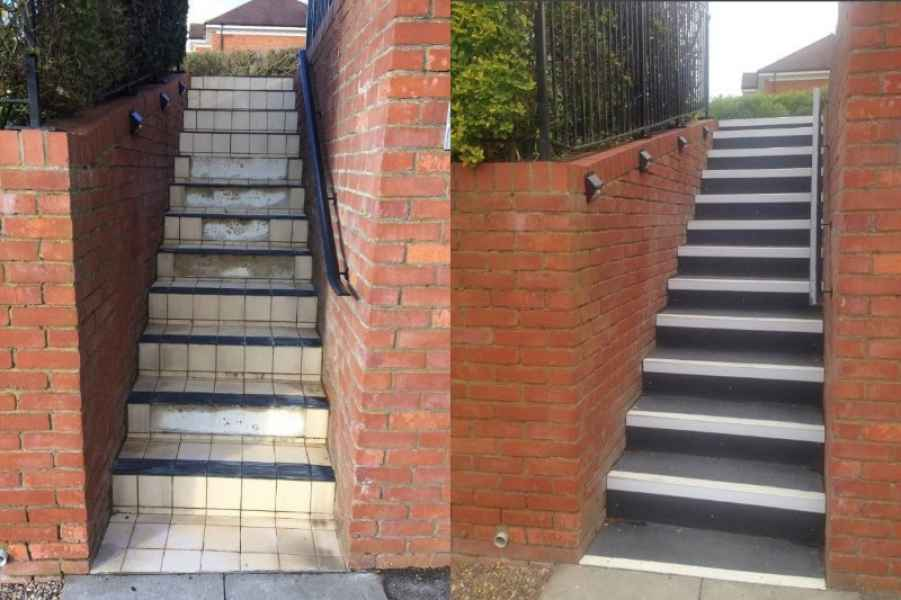 GRP Stair Tread replacement on Slippery Steps