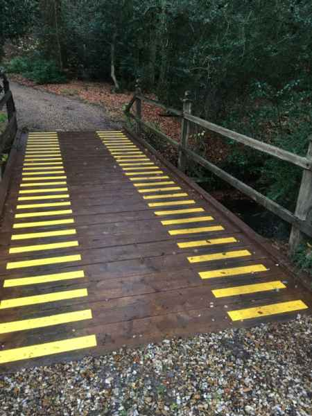 Anti Slip Decking Strips on Woodland Vehicle Bridge