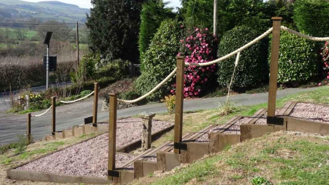 GRP Decking Step Strips on Garden Walkway