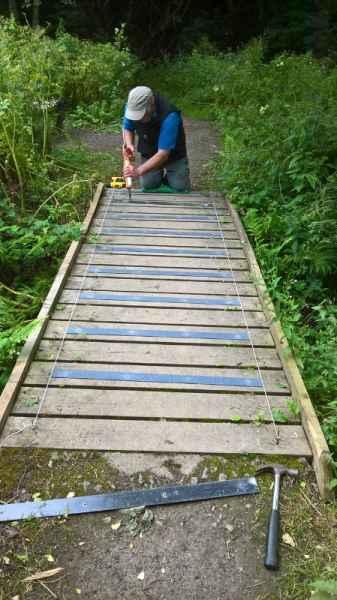 Anti Slip Decking Strips on Bridge easily applied with Sikaflex Sealant