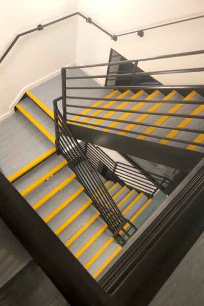 Non Slip Yellow Stair Nosings in Stairwell