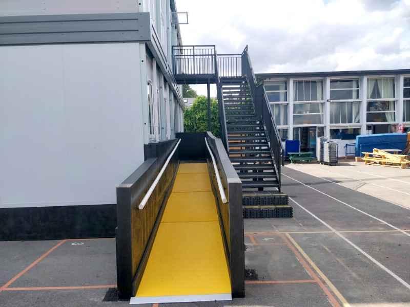 Startsite Services - Anti Slip Yellow Floor Sheets on Disability Ramp