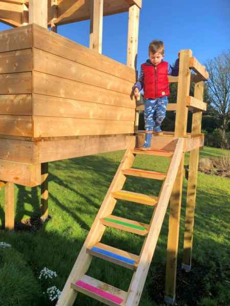 Multi Coloured Decking Step Strips on Childs Playhouse