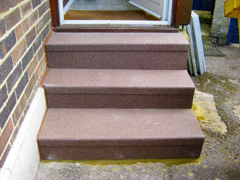 Non slip GRP stair riser plates and treads on mini staircase