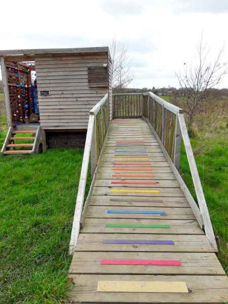 Disability access anti slip decking and step strips for composting toilet