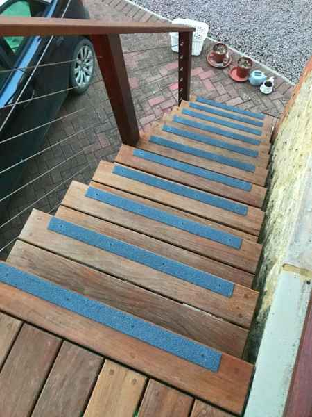 Anti Slip Stair Strips on timber staircase