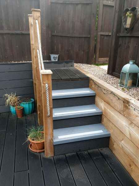 Decking strips on grey steps anti slip
