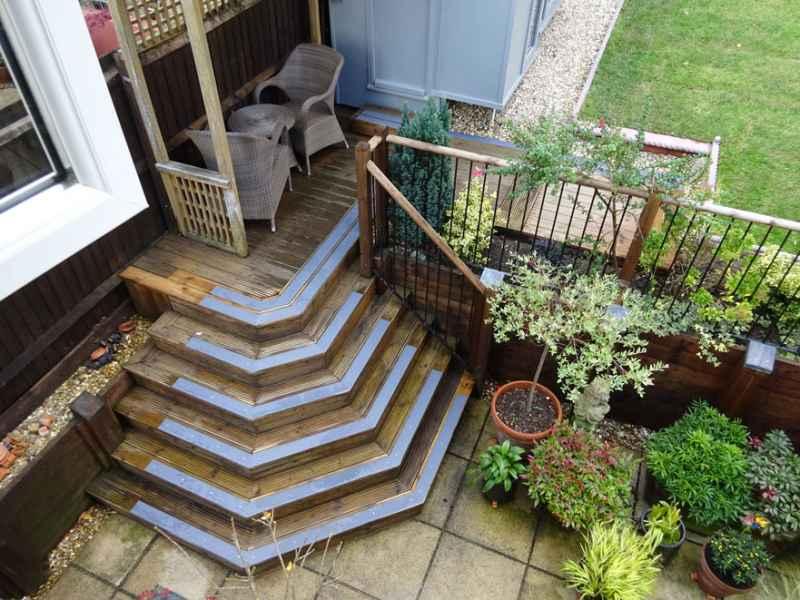 90mm grey decking step strips anti slip garden