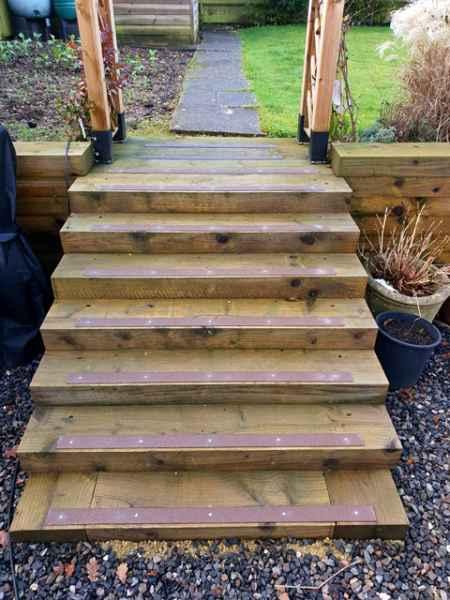 Brown decking strips garden steps