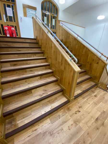 Brown GRP stair nosing internal wooden office staircase