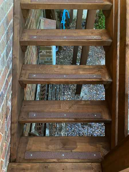 Frogman Carpentry Landscapes - Non Slip Decking Strips Brown on Decking and Wooden Stairs