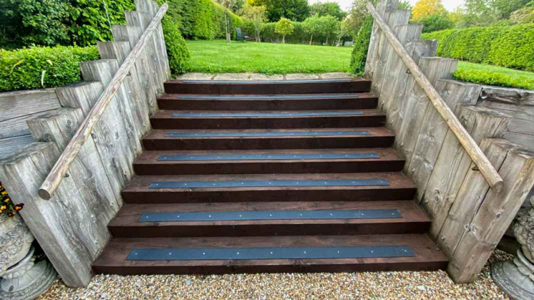 Christopher D - Non Slip Decking Strips Black on Wooden Stairs