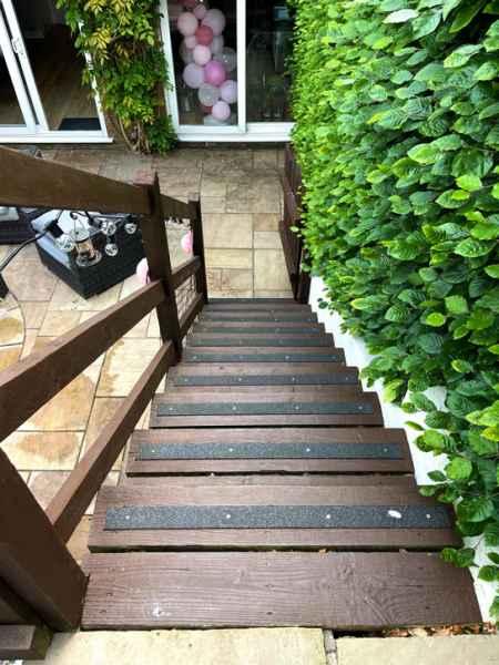 Paul B - Non Slip Decking Strips Black on Wooden Stairs