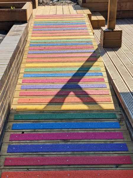 Peter M - Non Slip Decking Strips Rainbow Colour on Decking Ramp