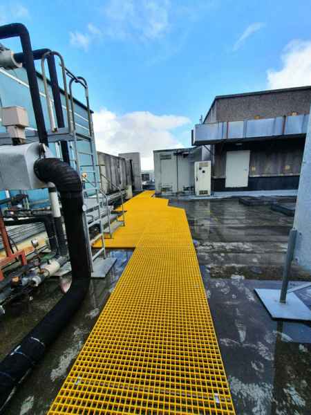 Industrial Extraction - Plant access roof walkway Yellow Grating