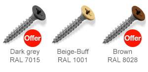 Coloured top countersunk screws - Dark Grey, Beige-Buff, Brown.