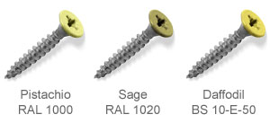 Coloured top countersunk screws - Pistachio, Sage, Daffodil.