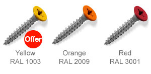 Coloured top countersunk screws - Yellow, Orange, Red.