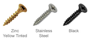 Zinc yellow plated superdrive screws, stainless steel screws, black screws.