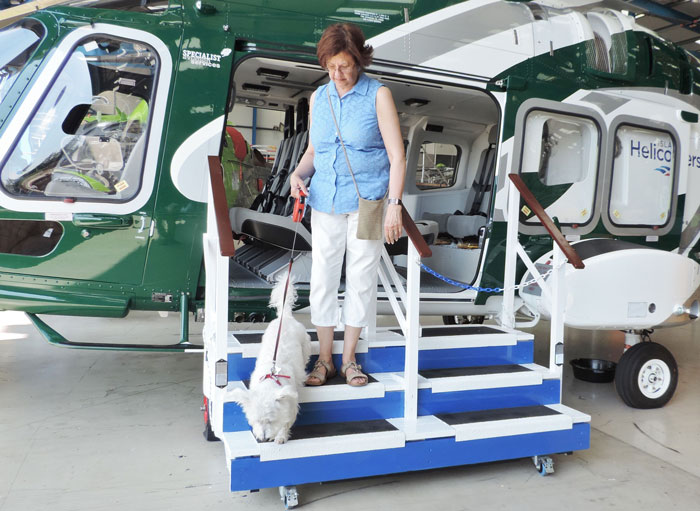 Anti slip GRP stair treads on VIP helicopter steps