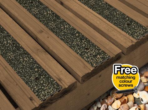 Free Shipping Anti Slip GRP Decking Strips 20 x 1200mm Free Drilling /& Screws