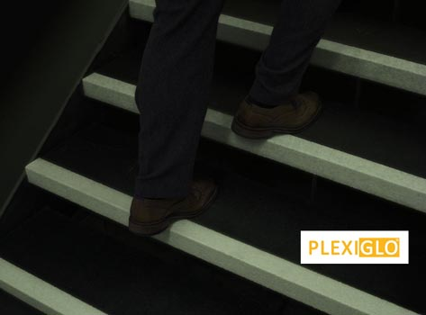 Black Step With White Glow In The Dark Nosing, Extra Deep Stair Tread  Covers.