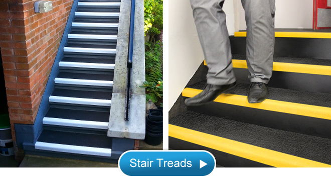 Anti slip stair treads for safer steps, stairs and walkways.
