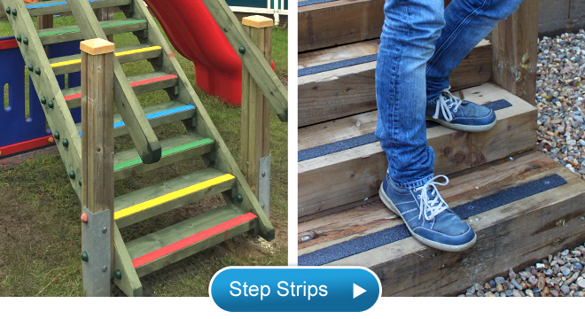 Anti slip step strips for safer steps, stairs and walkways.