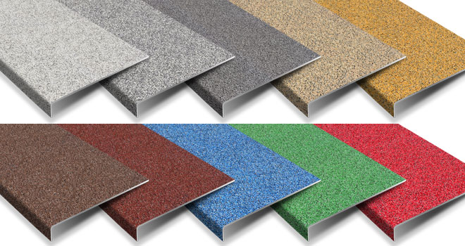 Anti-slip stair treads bended multi colour range.