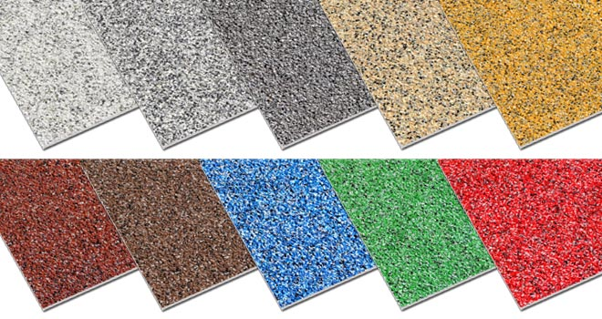 Non slip floor sheets blended multi colour finishes.