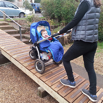 """Ramp installed to bypass steps that were difficult to navigate with a baby buggy. Anti-slip treads will combat mould growth on decking slats."" D Smith."
