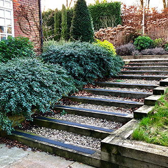 """SafeTread Non-slip decking strips, installed on a flight of slippery old wooden sleeper steps, has successfully reclaimed the steps, making them safe to use in the damp and frost of winter."" A Thomson."