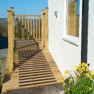 """Anti slip strips installed on the ramp to the recently finished decking on our new glamping pod. We are very pleased with the quality and ease of installation of the strips and will definitely be buying more for the next project."" M Eveleigh."
