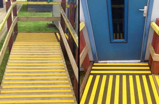 Anti slip decking strips ramps and walkways health and safety installation.