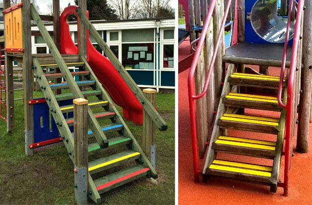 Colour decking strips for school play areas and playgrounds.