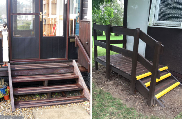 Non-slip decking strips home and college steps installations.