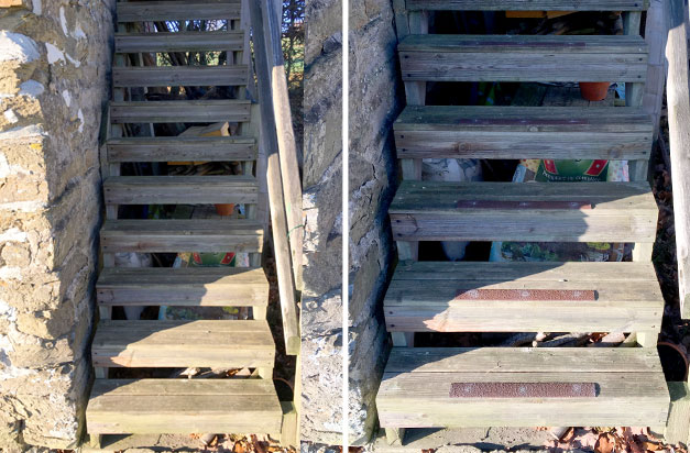 Non-slip decking strips on country house wooden staircase.