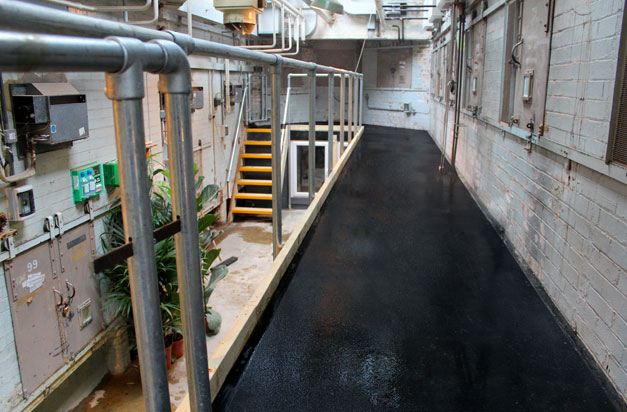 Anti-slip floor sheets improve safety in potential slip hazard areas at London Zoo.