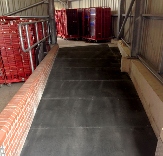 High use factory ramp and walkways with non-slip areas.