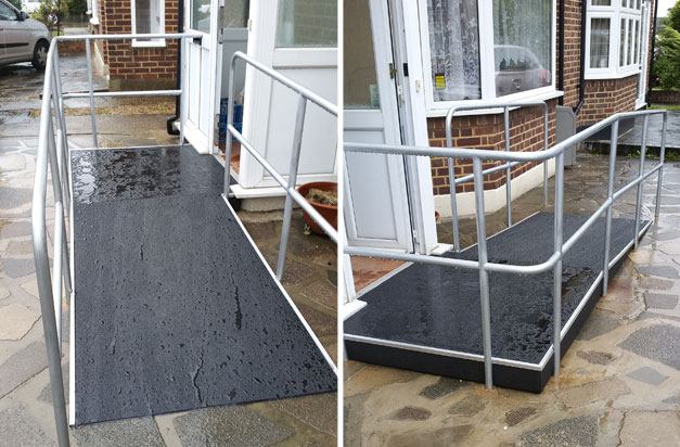 Health and safety at home. Non slip floor sheets on disabled access ramp.