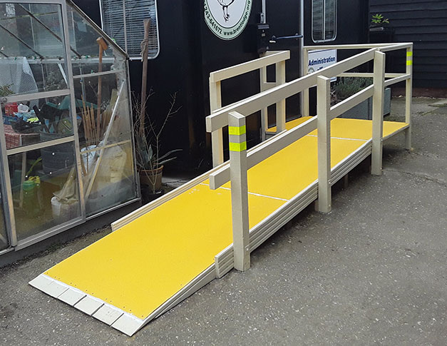 High visibility yellow floor covers create an anti-slip surface.
