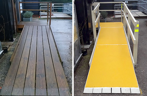 Before and after installation of anti-slip floor sheets.