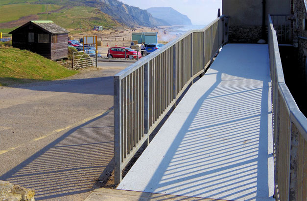 Non slip floor sheets new disabled access ramp, installed by volunteers in Charmouth, Dorset.