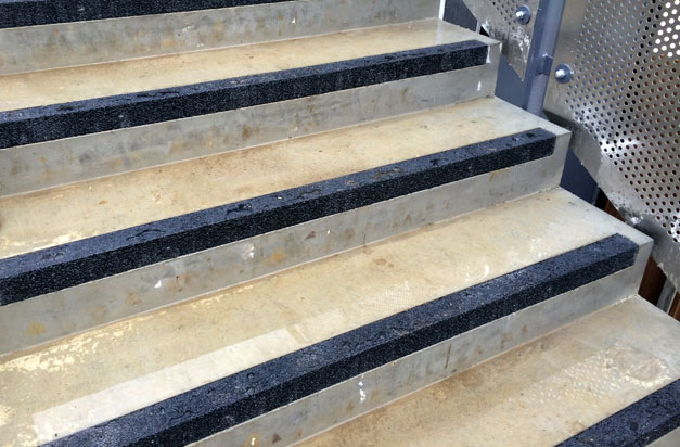 Concrete Steps Installation Complete With Flush Fitting Anti Slip Stair  Nosing.