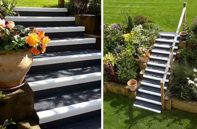 "25151bfe743 Standard duty anti-slip stair treads in dark grey with white nosing and  smooth dark. """